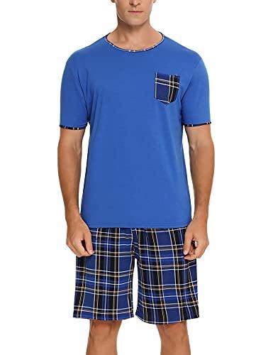 BESDEL Pyjamaset voor heren, pyjama, vrijetijdskleding, korte mouwen, geruit, nachtkleding met ronde hals, geruit, S-XXL