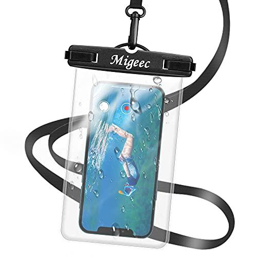 Migeec Funda Impermeable móvil (1 Piezas) IPX8 iPhone 12 11 Pro XS, Samsung hasta 7.0 Pulgadas, Negro