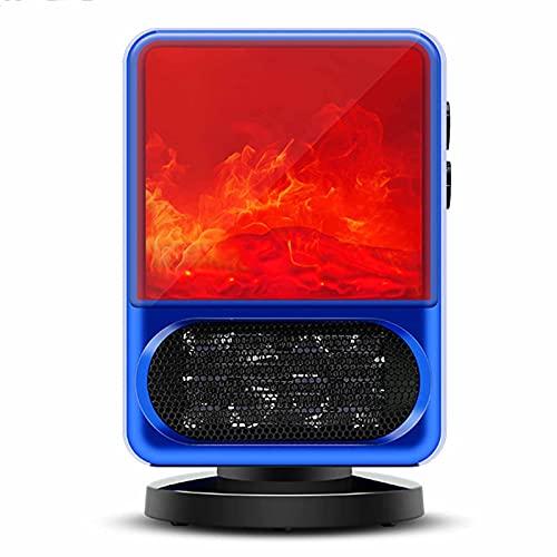 BKWJ Mini Calentador de Llama de Mesa, Estufa de Chimenea eléctrica con protección Segura y Ajustable de 3 velocidades, Calentador de Patio para Uso en Interiores y Exteriores,Azul