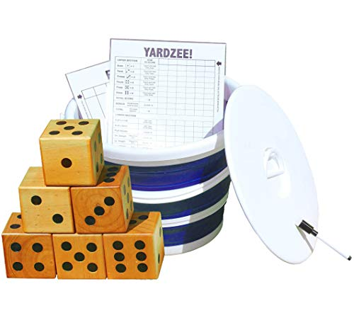 Jungle Gym Kingdom Yardzee & Yard Farkle Giant Wooden 6 Dice Set for Outdoor Fun Lawn Games Picnic Barbeque Party Tailgaiting & Special Events with Collapsible Bucket & Lid Scorecards & Markers - Blue