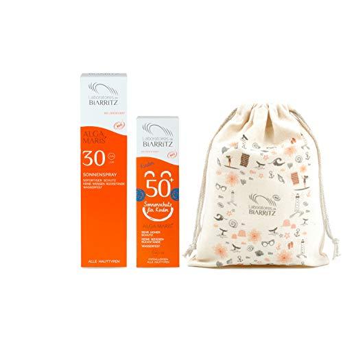 Laboratoires de Biarritz Alga Maris Family Set | Alga Maris Sonnenspray LSF30 100ml, Alga Maris Kinder Sonnencreme LSF50 100ml | BIO zertifizierte Naturkosmetik | Sofortschutz für alle Hauttypen