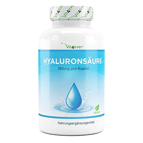 Hyaluronsäure Kapseln - Hochdosiert mit 500 mg - 120 Stück (4 Monate) - 500-700 kDa - Pflanzlich aus Fermentation - Laborgeprüft - Vegan