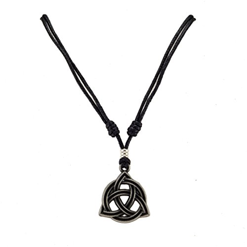 BlueRica Celtic Trinity Knot Triquetra Pendant on Adjustable Black Rope Cord Necklace