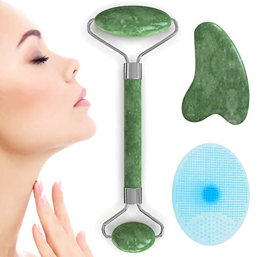 Anti-Aging Jade Roller Face Massager Tool + Gua Sha & Facial Silicone Scrub, Massage Stick Made from Natural Himalayan Stone Reduces Eye Puffiness and Wrinkles