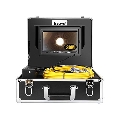 Eyoyo Pipe Pipeline Inspection Camera 30M/100ft Drain Sewer Industrial Endoscope Video Plumbing System with 7 Inch LCD Monitor 1000TVL DVR Recorder Snake Cam (Include 8GB SD Card)