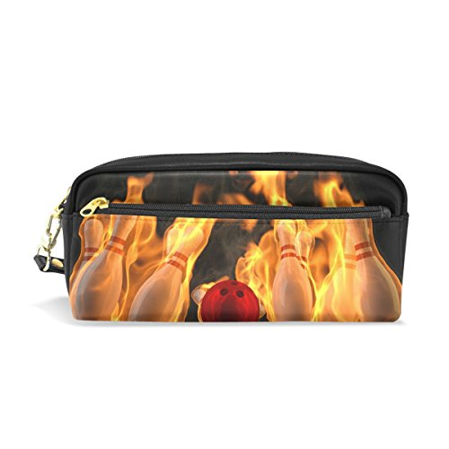Eslifey Fire Bowling tragbare Tasche PU Leder Schultasche Stifteetui Stationäre Stifttasche für Kinder Wasserdicht Kosmetik Tasche Make-up Beauty Case