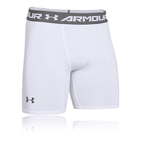 Under Armour Herren HeatGear ARMOUR 2.0 COMP Shorts halblange Kompressionshose, kurze Hose für Männer mit Kompressionspassform, Weiß, Large
