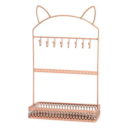 Hellery Soporte de exhibición de organizador de joyería, soporte de exhibición de pendientes de pulsera de collar - Oro rosa
