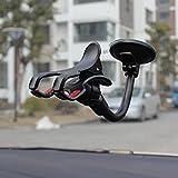 Ablily Soporte para Teléfono Móvil con Base de Ventosa Soporte de Móvil Coche Sujeta Movil Coche Universal Porta Movil, para Parabrisas y Salpicadero con Ventosa Ajustable, Universal Negro