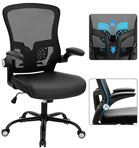 SAMOFU Home Office Chair, Ergonomic Desk Chair with Leather and Mesh Seat, High Back Computer Chair with Flip-up Armrest & Adjustable Lumbar Support, 5 Years Warranty (Black)