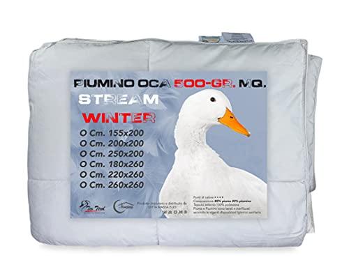 Edredón de plumas de ganso (350g).90% plumas de ganso + 10% plumón de ganso. Para cama de matrimonio/2 plazas.250 x 200 cm.