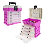 Storage Tool Box-Durable Organizer Utility Box-4 Drawers, 19 Compartments Each for Camping Supplies and Fishing Tackle by Wakeman Outdoors (Pink)