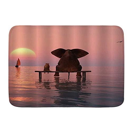 ZOMOY Badematte,Elefant und Hund sitzen Mitten im Meer und beobachten den Sonnenuntergang,rutschfest Waschbar Badezimmer Teppich Weiche Hochflor Badvorleger aus