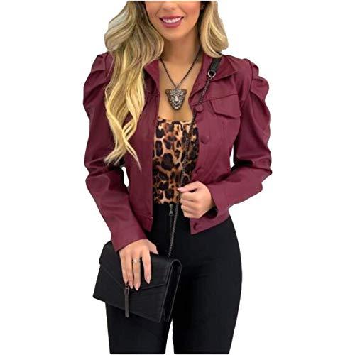 Katenyl Chaquetas elegantes de cuero de imitación con cuello con muescas para mujer, ropa de calle, Color sólido, lindo, dulce, moda, abrigo recortado de manga larga 3XL