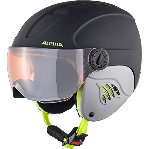 Alpina Jongens Carat LE VISOR HM Ski- en snowboardhelm, charcoal-neon mat, 48-52 cm
