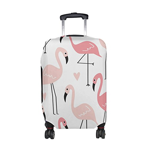 Cooper girl Pink Flamingo Bird Travel Luggage Cover Suitcase Protector Fits 23-26 Inch