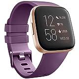 Wanme Compatible con Fitbit Versa 2 Correa Silicona Suave Ajustable Deportivo Pulsera de Reemplazo Compatible para Fitbit Versa 2 SE Mujeres y Hombres Pequeño Grande (S, 06 Púrpura)