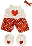 Satin Rouge Cœur polaire avec pantoufles pyjama pajams Teddy Bear Costume Vêtements pour Ours 20,3cm (20cm)