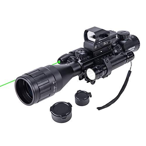 HIRAM 4-16x50 AO Rifle Scope Combo with Green Laser