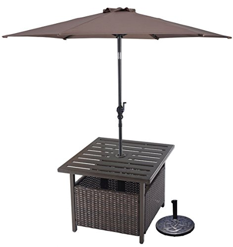 Premium Side Table + 9ft Tilt Adjustable Umbrella Patio Outdoor Furniture Set for Outdoor Deck Garden Beach Patio or Poolside. Include 1 Side Table + 1 Umbrella + 1 Base Stand (Dark Tan)