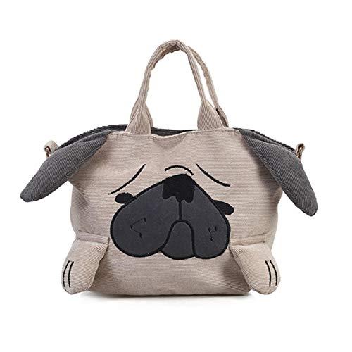 ADAFY Lindos bolsos de animales para mujer, de viaje informal, de gran capacidad, bolsos de hombro, bolso de mensajero de pana para perro Pug, femenino