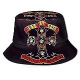 G-U-Ns N' Ro-S-ES Fashion Summer Reversible Foldable Cap Fisherman Hat Men and Women Fisherman Hat Black