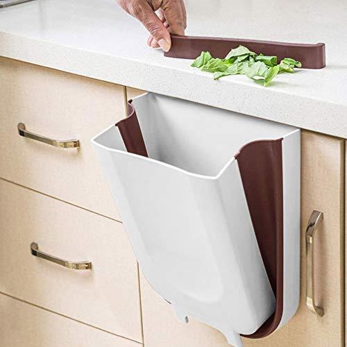 KINLO Mülleimer Küche Faltbare, Aufhängen Kunststoff (PP) BPA-frei 10 Liter Große Kapazität Küchen Abfalleimer für zum Einhängen Platz sparen (Weiss)