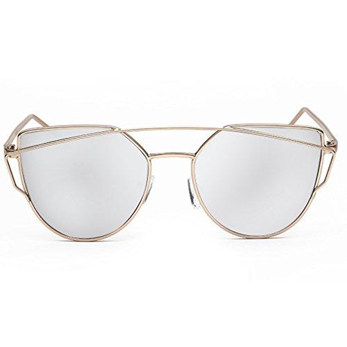 QHGstore La mujer de las se?oras de moda las gafas de sol UV400 del metal del marco de protecci¨n de los vidrios gafas de sol gafas marco&la cinta de oro