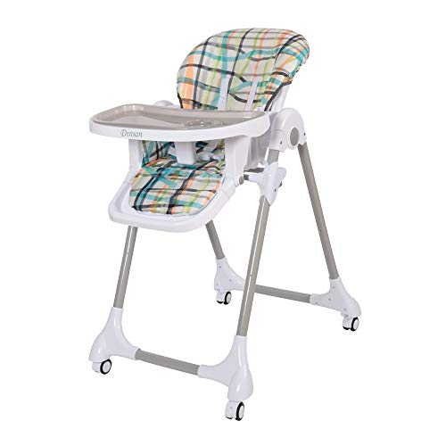 Diroan High Chair for Babies & Toddlers, Simple Fold Baby High Chair Easy to Clean and Pack Away with Multiple Adjustable Backrest, Footrest and Removable PU Cushion Blue