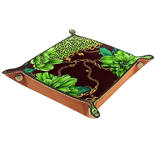 YATELI Caja de Almacenamiento pequeña, Bandeja de Valet para Hombre,Cadena de Flores Verde,Organizador de Cuero para Llaves de Caja de Monedas