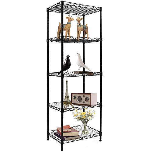 YOHKOH 5-Wire Shelving Metal Storage Rack Adjustable Shelves for Laundry Bathroom Kitchen Pantry...