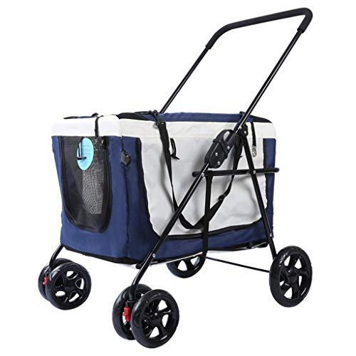 MZP Hond Fietsmanden & aanhanger Pet kinderwagen hond in de open lucht handdruk auto draagbare vouwfiets tas aparte hondenwagen blauw