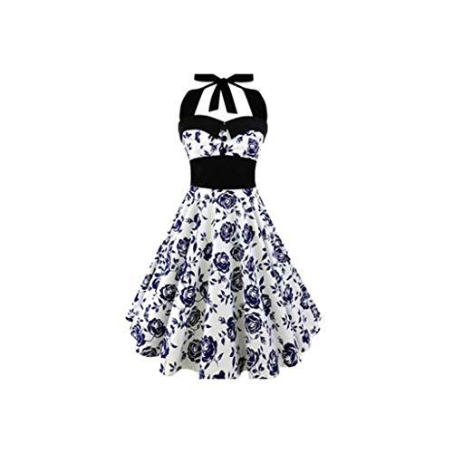 Vestido de mujer con estampado de calavera punk, sin tirantes, halter, vestidos de fiesta, con lazo - Azul - 5X-Large