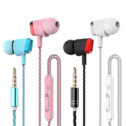 4 Pares Auriculares, CBGGQ Auriculares in-Ear con micrófono, Auriculares con Cable de 3,5 mm para Ajustar el Volumen, estéreo, Graves Profundos, Aislamiento de Ruido, para iOS y Android Smartphones