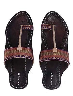 KALAPURI Ladies Kolhapuri Chappal in Genuine Leather with Black Pointed Shape Base and Traditional Paithani Lace Upper. Handmade in Kolhapur