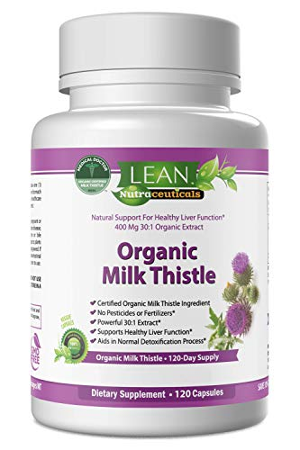 Lean Nutraceuticals Md Certified Organic Milk Thistle Capsules 12,000mg 30 to 1 Concentrated Extract Milk Thistle Supplement Silymarin Liver Cleanse, Aid, Detox and Support 120 Caps