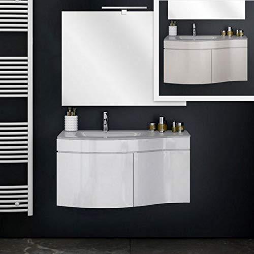 Bagno Italia Mobile Arredo Bagno Asia 80 cm Mobile sospeso con lavabo Cristallo Bianco o Tortora e Specchio Mobili I