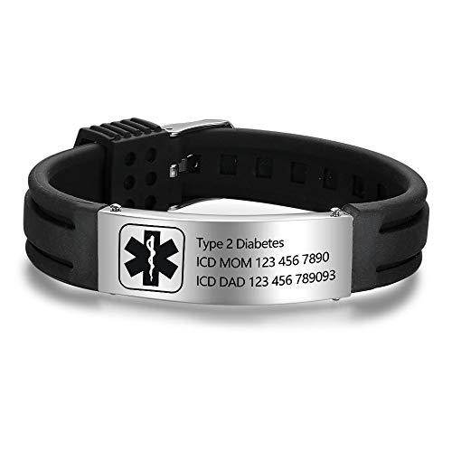 """Grand Made Pulseras personalizadas de id médica de alerta de 9"""" Pulsera de silicona ajustable para deportes de emergencia para hombres Mujeres Pulsera impermeable para mujer (Black & Silver 1)"""