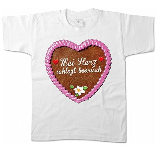 Artdiktat Mädchen T-Shirt - Lebkuchenherz - MEI Herz schlogt boarisch Größe 110/116, weiß