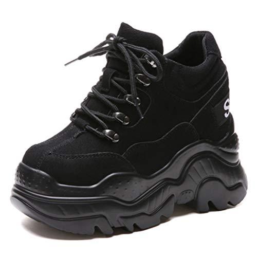 Scarpe da Ginnastica da Donna con Rialzo in Altezza Suola Spessa Sport Casual Atletico Grosso con Stringhe nascoste Piattaforma Sneakers Stivaletti