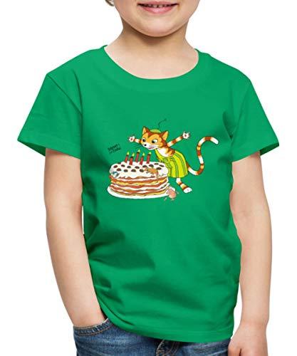 Pettersson Und Findus Geburtstag Feiern Torte Kinder Premium T-Shirt, 134-140, Kelly Green