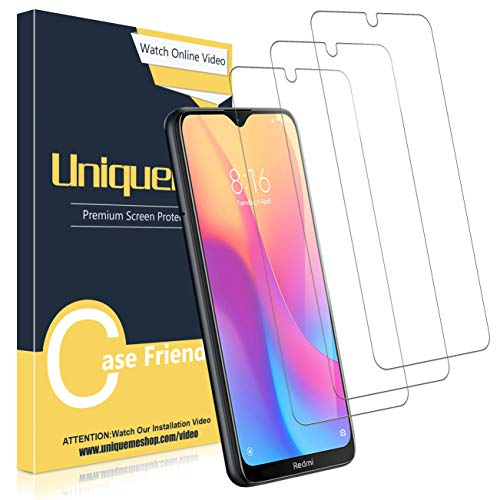 UniqueMe [3 Pack] Protector de Pantalla para Xiaomi Redmi 8 / Xiaomi Redmi 8A, Vidrio Templado [9H Dureza] HD Film Cristal Templado