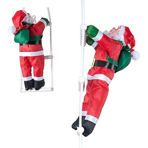 "Shake & Shop Kikajoy Santa Claus Climbing on Rope Ladder 34"" Christmas Ornament for Christmas Tree Party Home Door Wall Decoration"