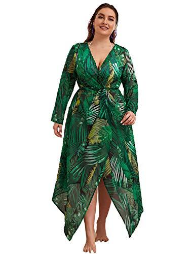 Romwe Women's Plus Size Floral Print Belted Beach Longline Kimono Cardigan Cover Up Green#1 2X Plus