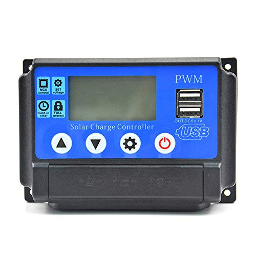 KKmoon Controlador De Carga Solar,Pantalla LCD USB Dual,Regulador De Panel De Células Solares Automático,Regulador Inteligente PWM Con USB 5V 2.5A