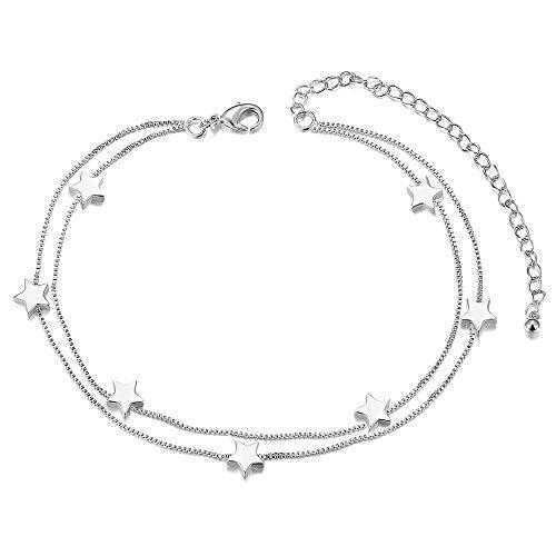 SWEETIEE - Bracelet de Cheville en Acier Titane, Doubles Chaines Orne d'Etoiles, Couleur Acier,...