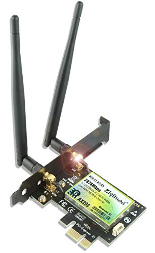 Ziyituod 3000Mbps WiFi 6 Bluetooth5.1 Tarjeta PCIe WiFi para PC | Intel WiFi 6 AX200 | 5G / 2.4G, 160MHz, OFDMA, latencia ultrabaja | para Windows 10 de 64 bits