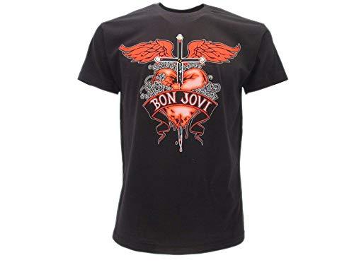 Bon Jovi Original Glam Metal Hard Rock T-Shirt schwarz Herz und Dolch Heart And Dagger mit Etikett und Originaletikett T-Shirt, Schwarz X-Small