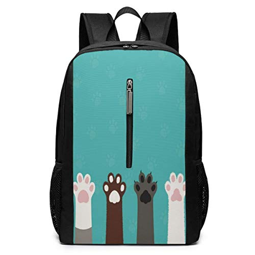 School Travel Business Bag Laptop BackpackCute Cat Paw Dog Paw Animal Turquoise Casual Backpack Shoulder Bookbags Bag for Womens Mens Kids 17'