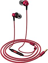In Ear Headphones, MR01 Comfortable Tangle-Free Stylish Wired in-Ear Earbuds with Microphone, Crystal Clear Sound Noise Cancelling Earphones for iPhone/iPod/Samsung/laptop/Computer, Red
